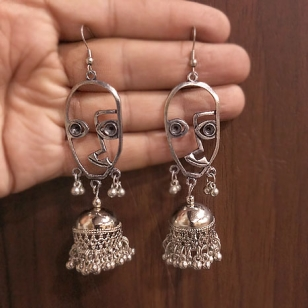 Silver Plated Oxidised Face Earring
