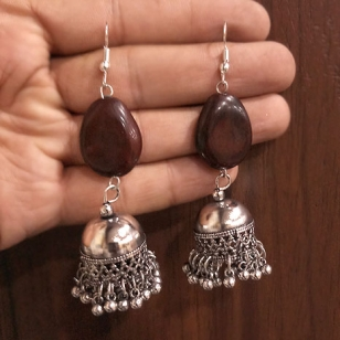 Jhumka Earring with Brown Stone