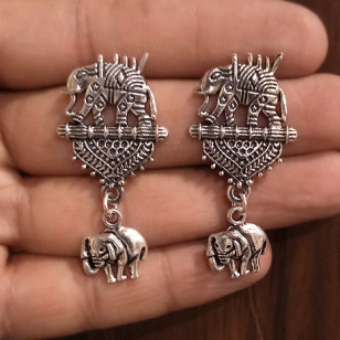 Silver Oxidised Elephant Earring