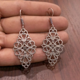 Silver Oxidised Floral Earring