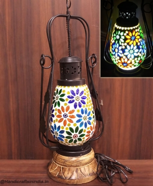 Colorful Mosaic Lantern Lamp