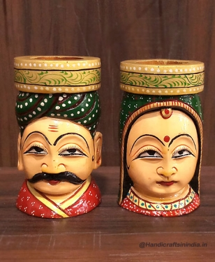 Wooden Painted Figurine Pen Holder (Pair)