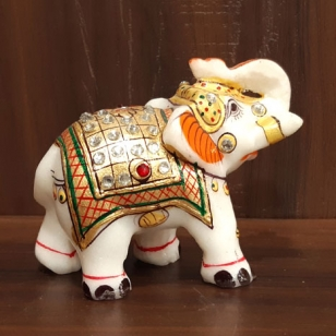 "Marble Painted Elephant 2.5"" Height"