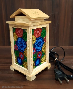 Wooden Glass Painting Lamp