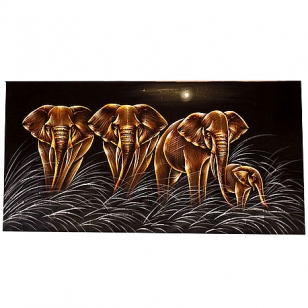 Elephant Painting on Velvet