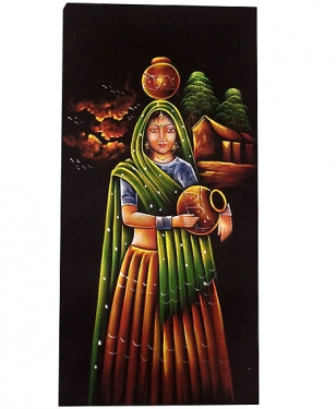 Village Woman Painting on Velvet