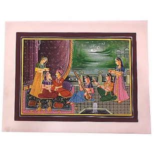 Hand Painting of Mughal on Silk Fabric