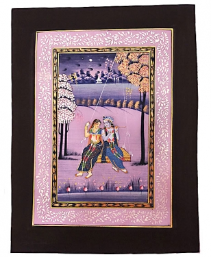 "Radha Krishna Painting On Silk 14"" x10"""