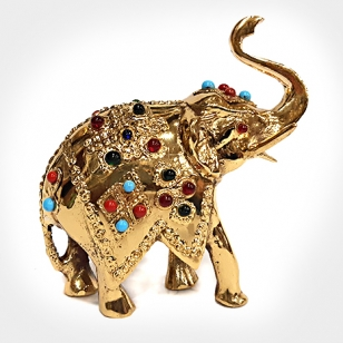 Brass Trunk up Elephant Statue