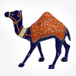 Metal Painted Camel Statue 6 inch