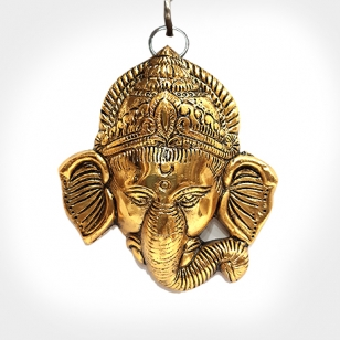 Wall Hanging Metal Ganesh Head (Golden)