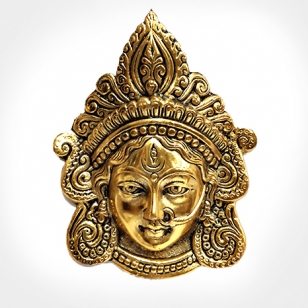 Metal Wall Hanging Maa Kali Durga (Golden)