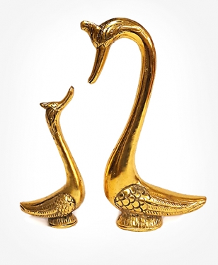 Metal Duck & Duckling Big (Golden)