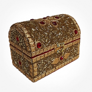 Wooden Jewellery Box (Golden)