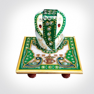 Marble Chowki Ganesh (Green Painted)