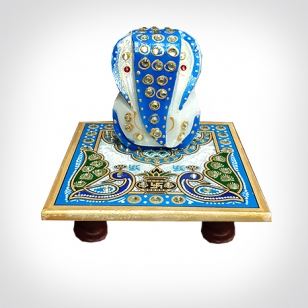 Marble decorative chowki ganeshji