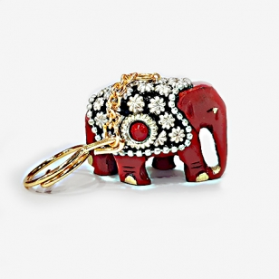 Wooden Beaded Elephant Keychain - Pack of 10pc