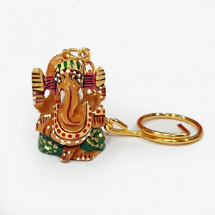 Wooden Painted Ganesh Keychain - Pack of 6pc