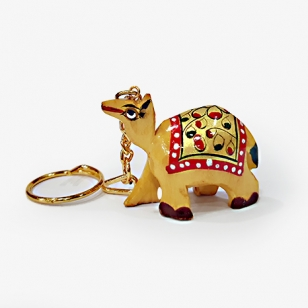 Wooden Painted Camel Keychain - Pack of 12pc