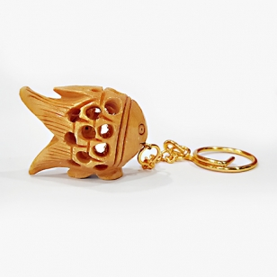 Wooden Fish Key Ring - Pack of 12pc