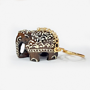 Wooden Embossed Elephant Keychain - Pack of 10pc
