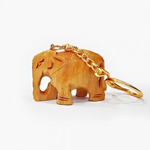 Wooden Plain Elephant Keychain - Pack of 12pc