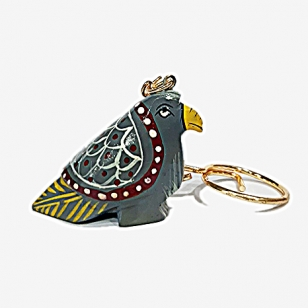 Wooden Painted Pigeon Keychain - Pack of 12pc