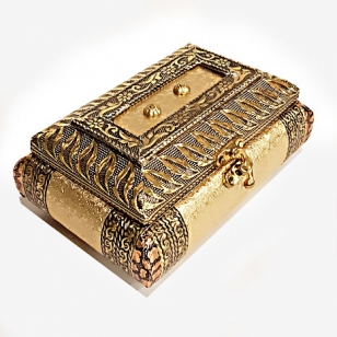 Golden German Oxidised Rexine Jewellery Box