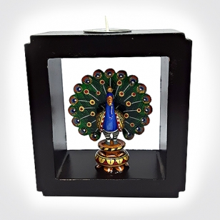 Wooden Painted Peacock Candle Holder