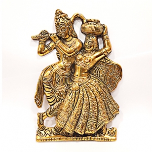 Metal Hanging Radha Krishana (Golden) - Pack of 2pc