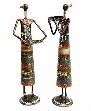 Metal Painted Tribal Set of 2