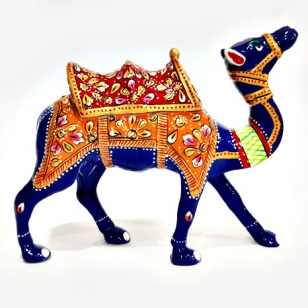 Metal Kathidar Camel Painted 6 inch Length