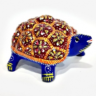 Metal Enamelled Painted Tortoise