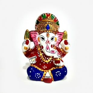 Metal Blue Enamel Painted Ganesh