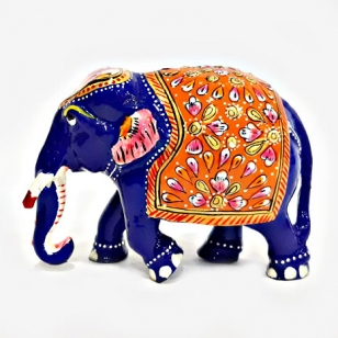 Metal Embossed Painted Trunk down Elephant