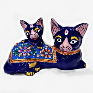 Metal Meenakari Painted Cat Statue