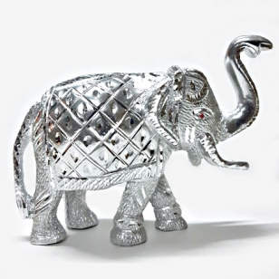White Metal Elephant Idol