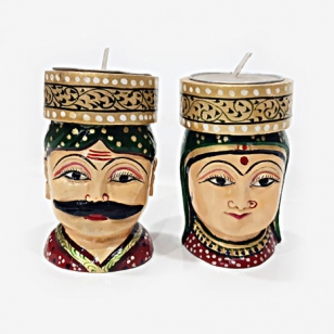 Wooden Figurine Tea Light Pair
