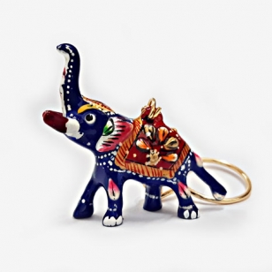 Elegant Meenakari Elephant Keychain - Pack of 6pc