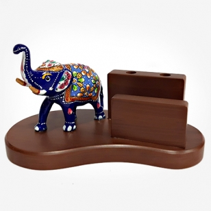Meenakari Elephant Pen Holder cum Mobile Holder