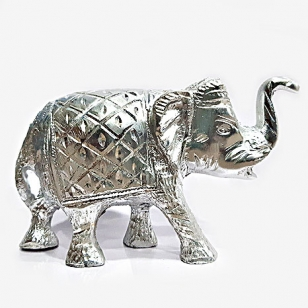 White Metal Carved Elephant