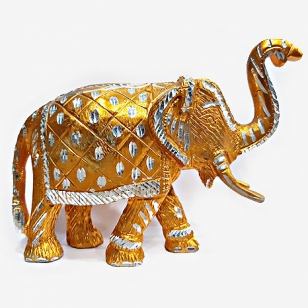 Solid Metal Elephant Statue - Golden