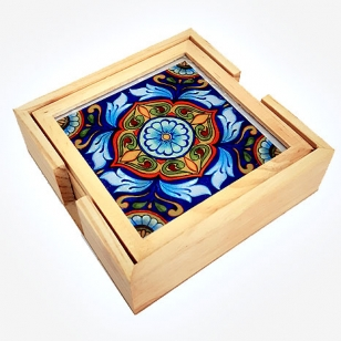 Wooden Floral Designed Coaster