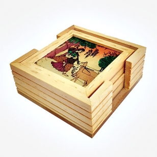 Wood Carving Revolving Coaster