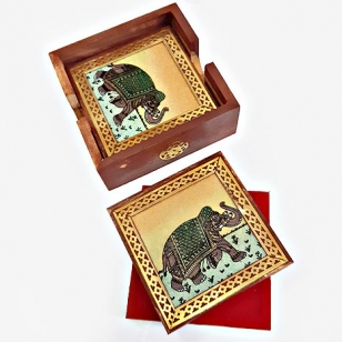 Elephant Design Gemstone Painting Brown Coaster