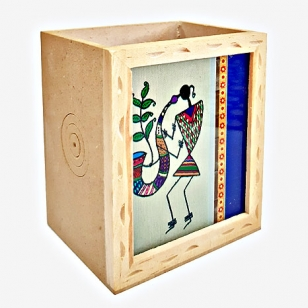 Warli Wooden Pen Holder