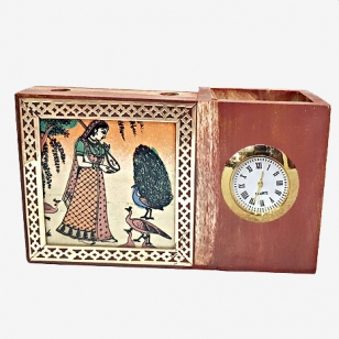 Gemstone Painting Pen Holder with Clock
