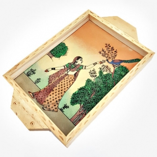 Gemstone Painting Pine Wood Tray