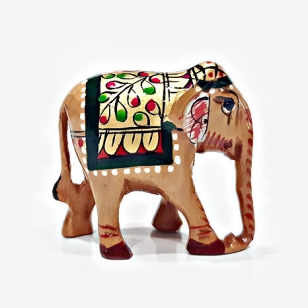 Wooden Painted Elephant 5cm - Pack of 2pc