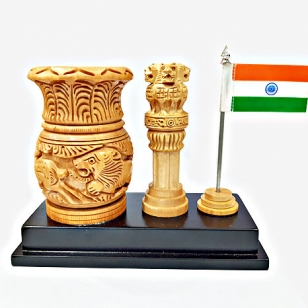 Ashoka Stambh with Pen Holder & Flag – Table top Gift